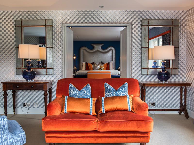 Orange love seat in Hotel Torridon